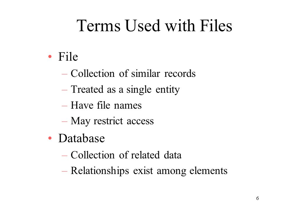 Terms Used with Files File Database Collection of similar records