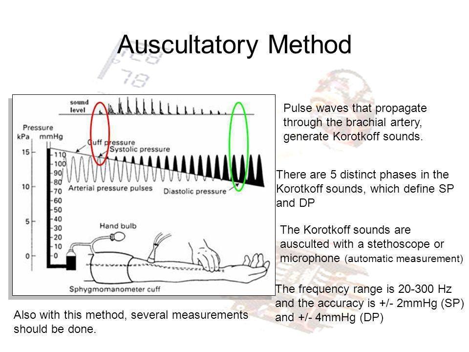 Auscultatory Method Pulse waves that propagate through the brachial artery, generate Korotkoff sounds.