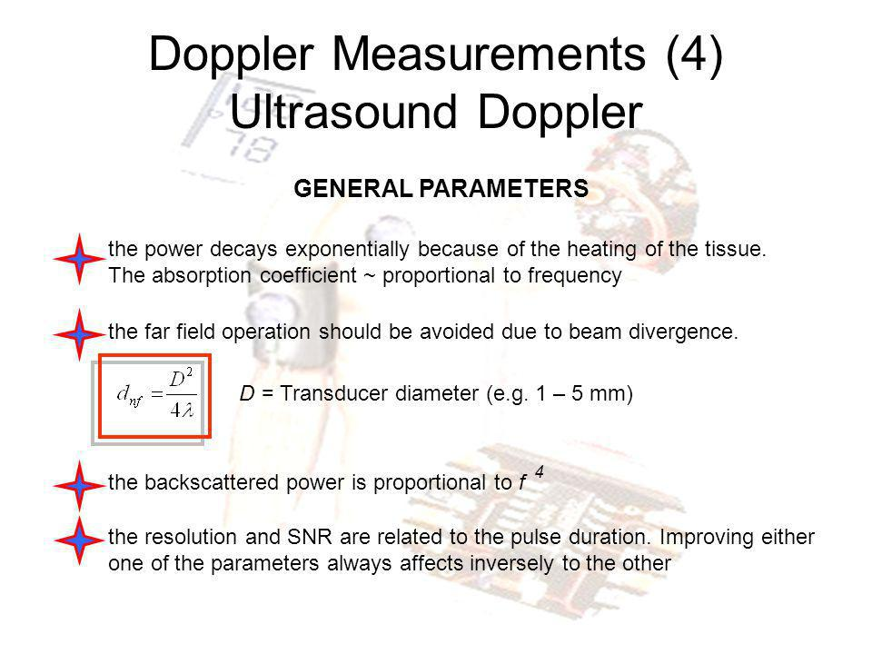 Doppler Measurements (4) Ultrasound Doppler