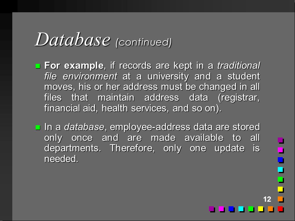 Database (continued)