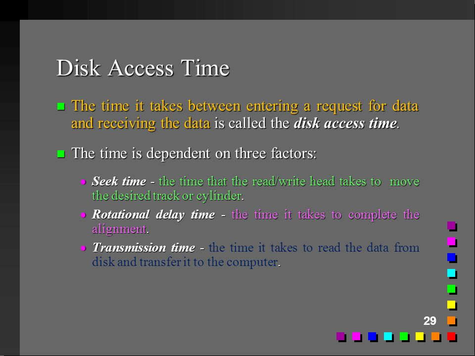 Disk Access Time The time it takes between entering a request for data and receiving the data is called the disk access time.