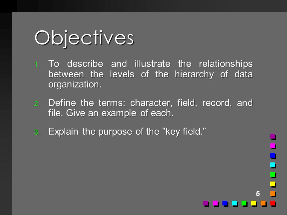 Objectives To describe and illustrate the relationships between the levels of the hierarchy of data organization.