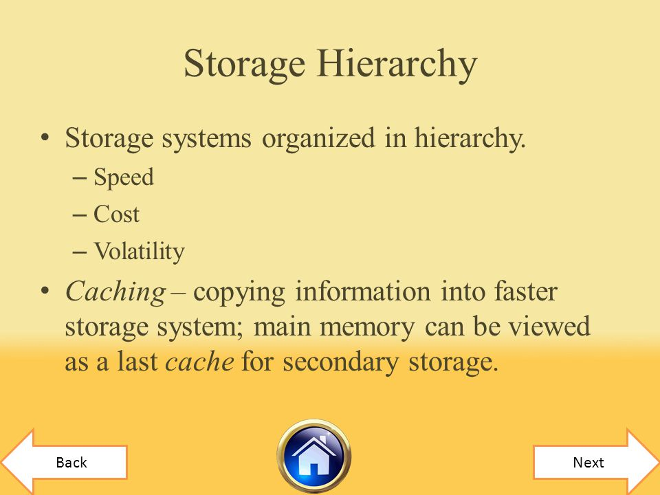 Storage Hierarchy Storage systems organized in hierarchy.