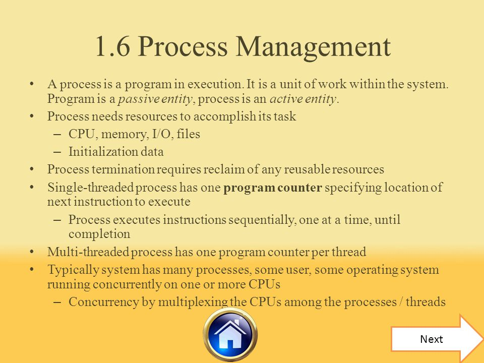 1.6 Process Management