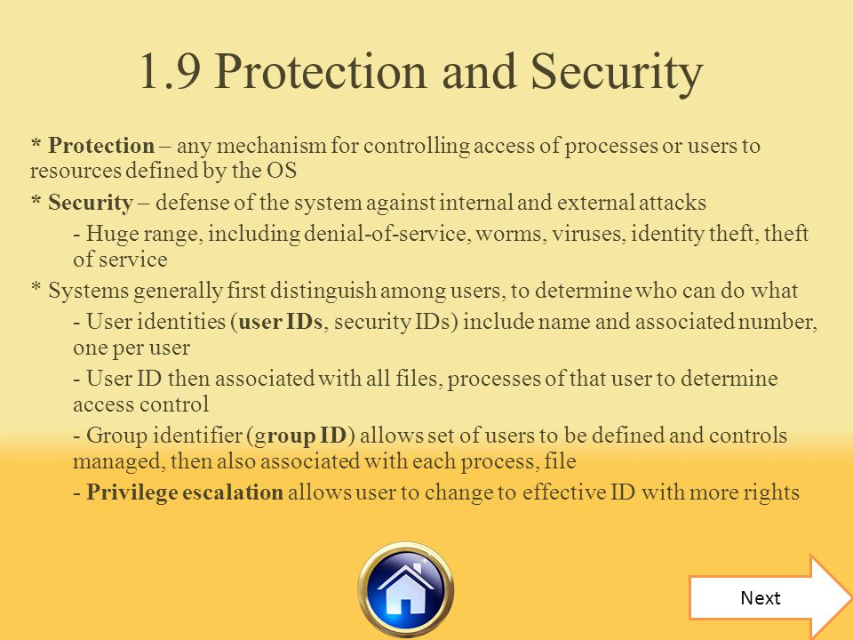 1.9 Protection and Security
