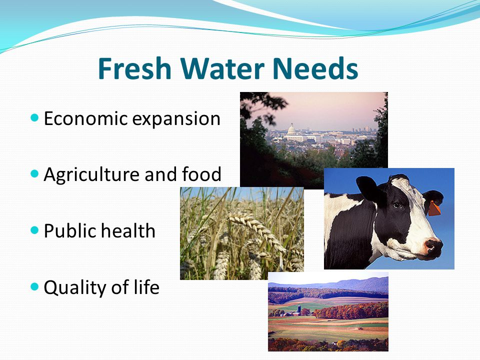 Fresh Water Needs Economic expansion Agriculture and food