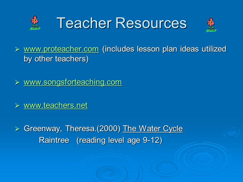Teacher Resources www.proteacher.com (includes lesson plan ideas utilized by other teachers) www.songsforteaching.com.