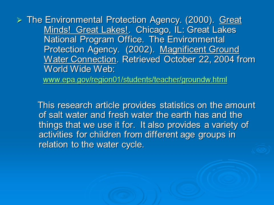 The Environmental Protection Agency. (2000). Great. Minds. Great Lakes