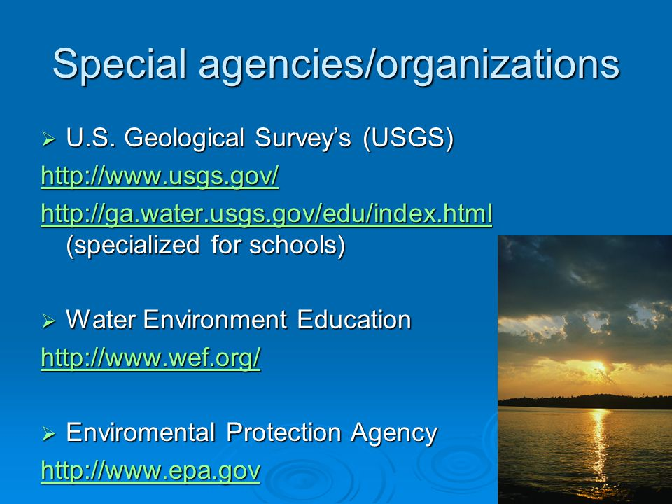 Special agencies/organizations