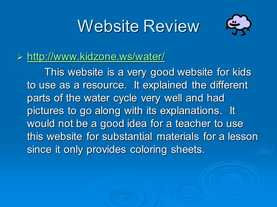 Website Review http://www.kidzone.ws/water/