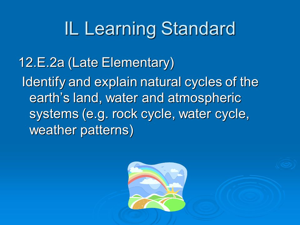 IL Learning Standard 12.E.2a (Late Elementary)