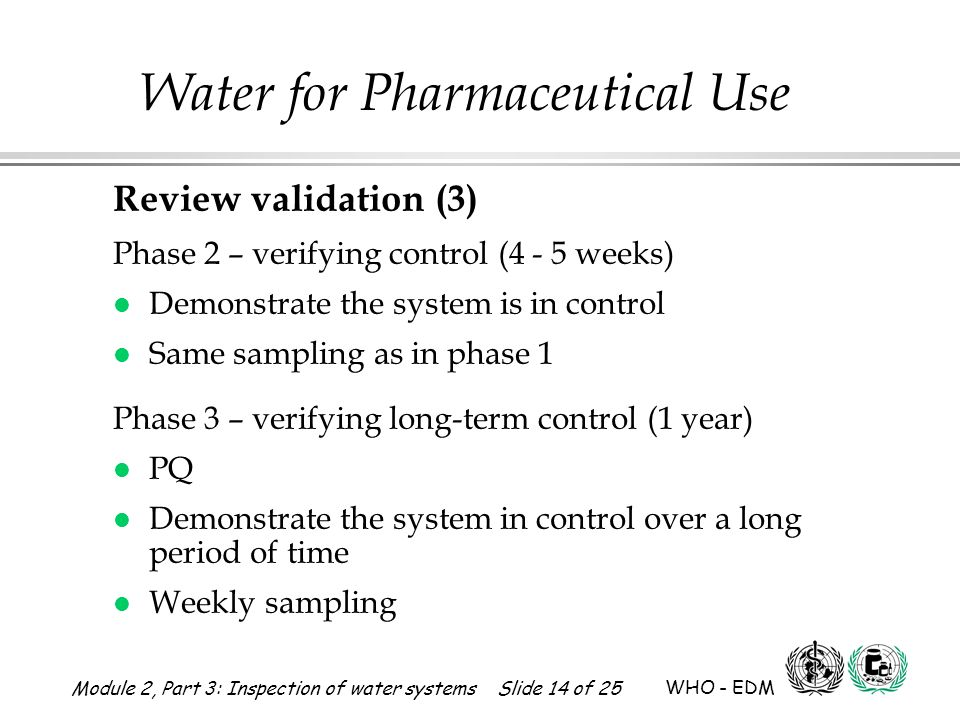 Review validation (3) Phase 2 – verifying control (4 - 5 weeks)