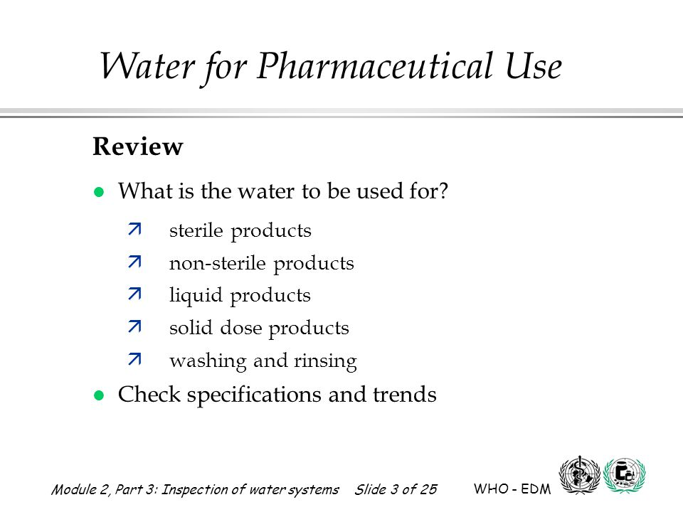 Review What is the water to be used for