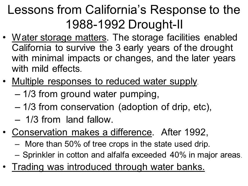Lessons from California's Response to the 1988-1992 Drought-II
