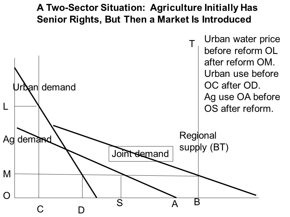 A Two-Sector Situation: Agriculture Initially Has Senior Rights, But Then a Market Is Introduced