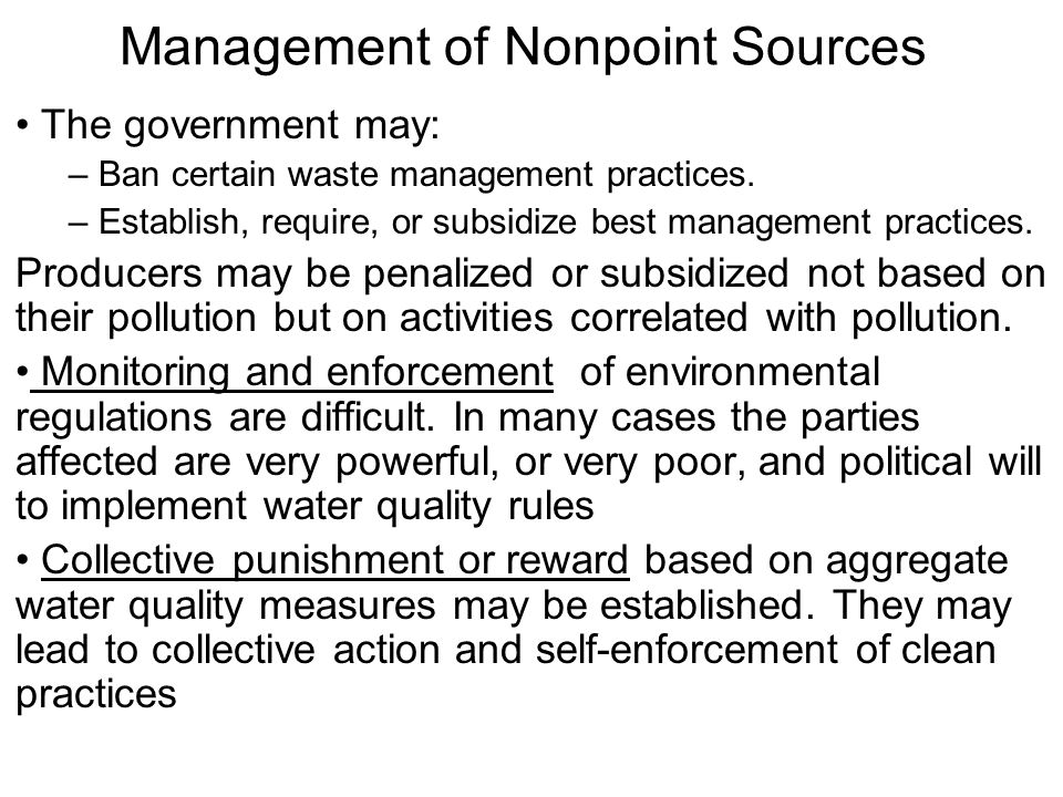 Management of Nonpoint Sources