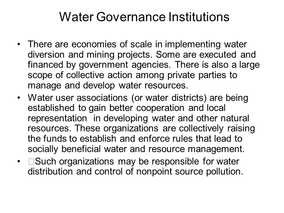 Water Governance Institutions