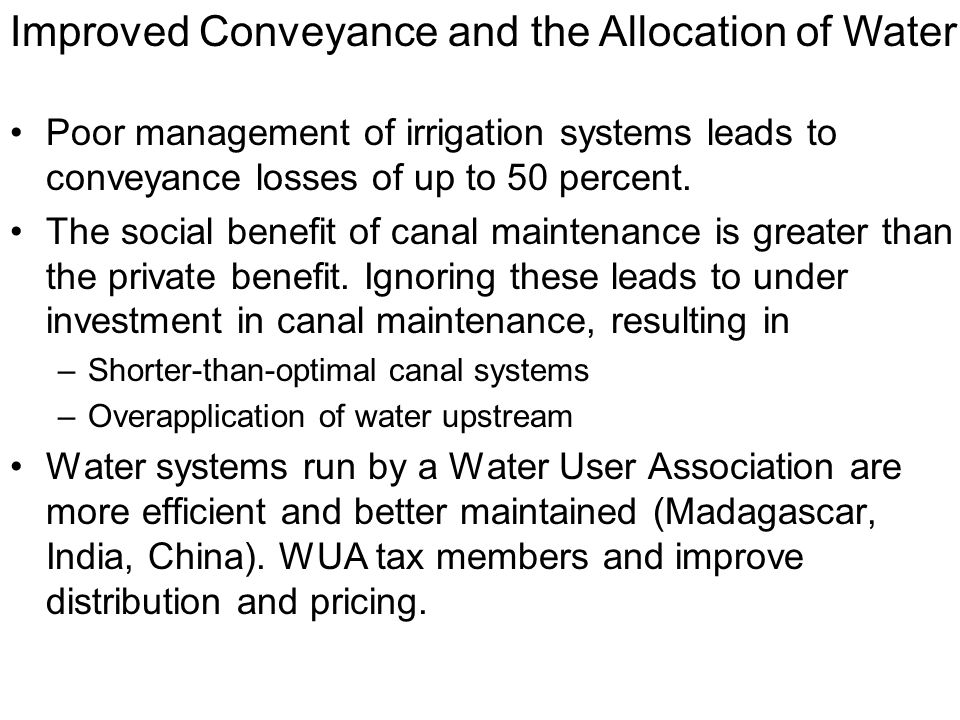 Improved Conveyance and the Allocation of Water