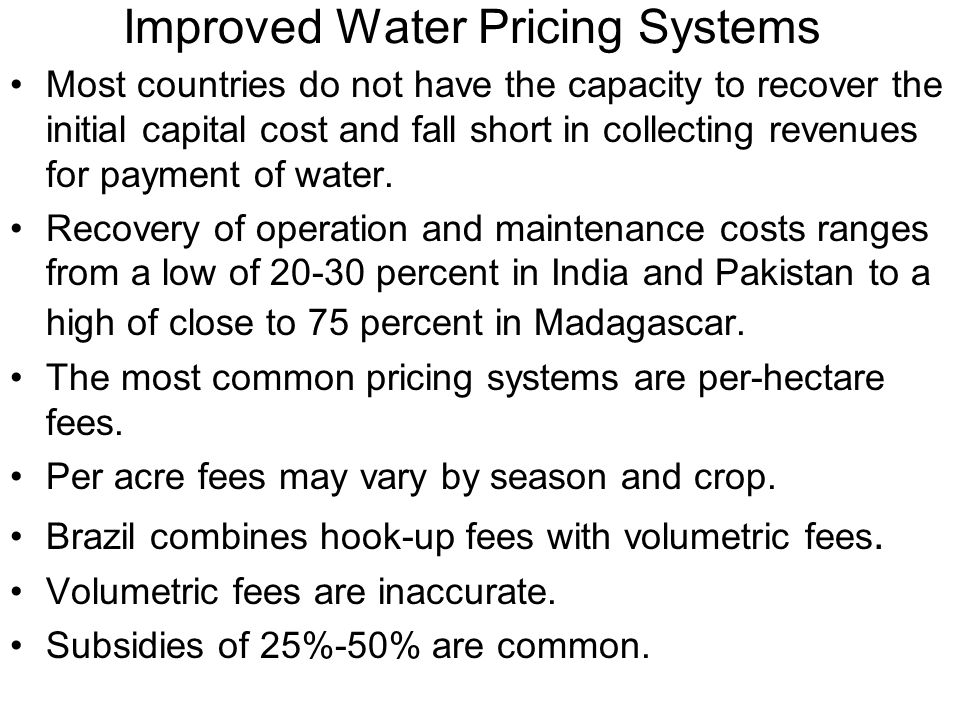 Improved Water Pricing Systems