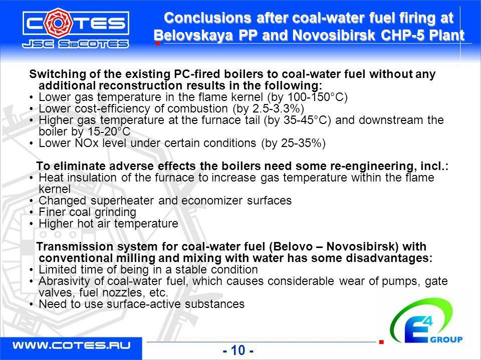 Conclusions after coal-water fuel firing at Belovskaya PP and Novosibirsk CHP-5 Plant