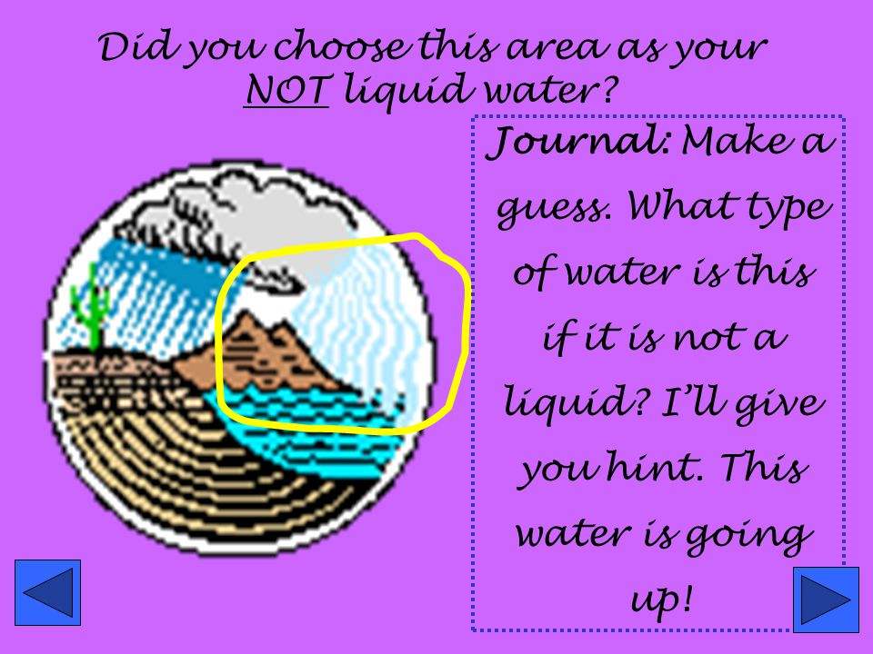Did you choose this area as your NOT liquid water