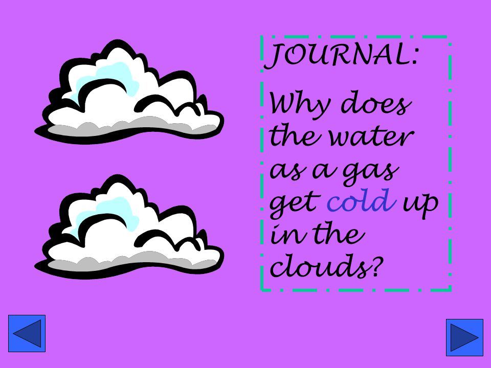 JOURNAL: Why does the water as a gas get cold up in the clouds
