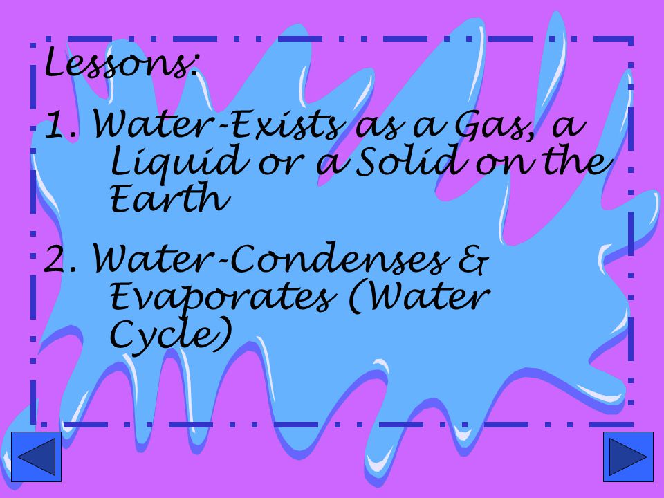 Lessons: 1. Water-Exists as a Gas, a Liquid or a Solid on the Earth.