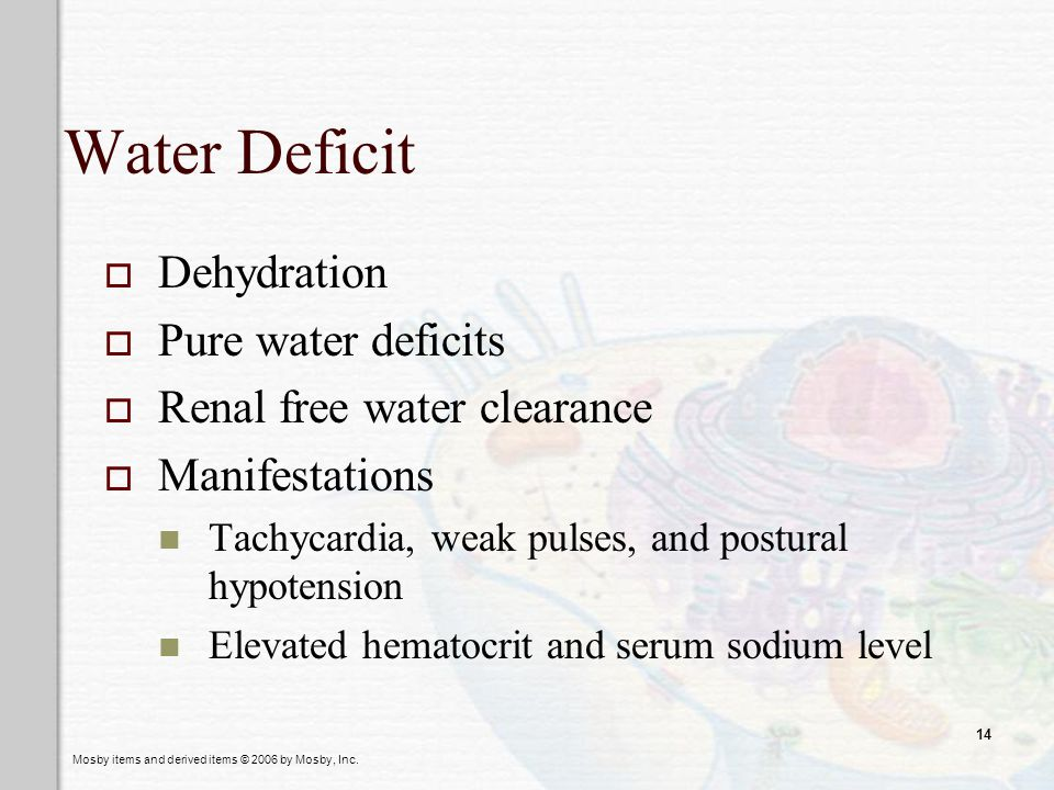 Water Deficit Dehydration Pure water deficits