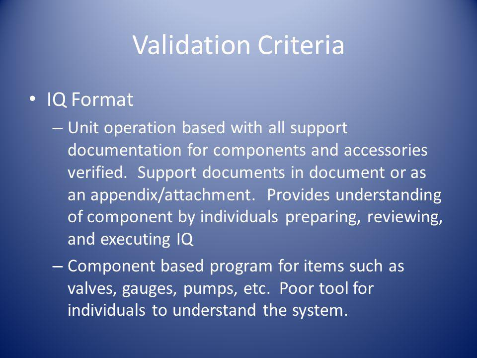 Validation Criteria IQ Format