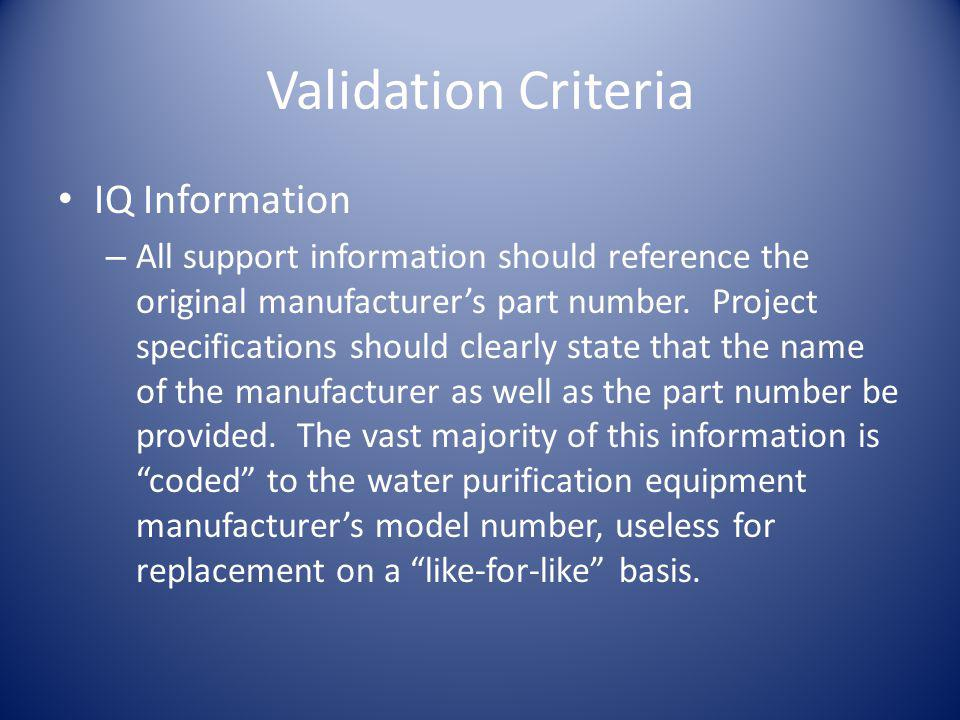 Validation Criteria IQ Information