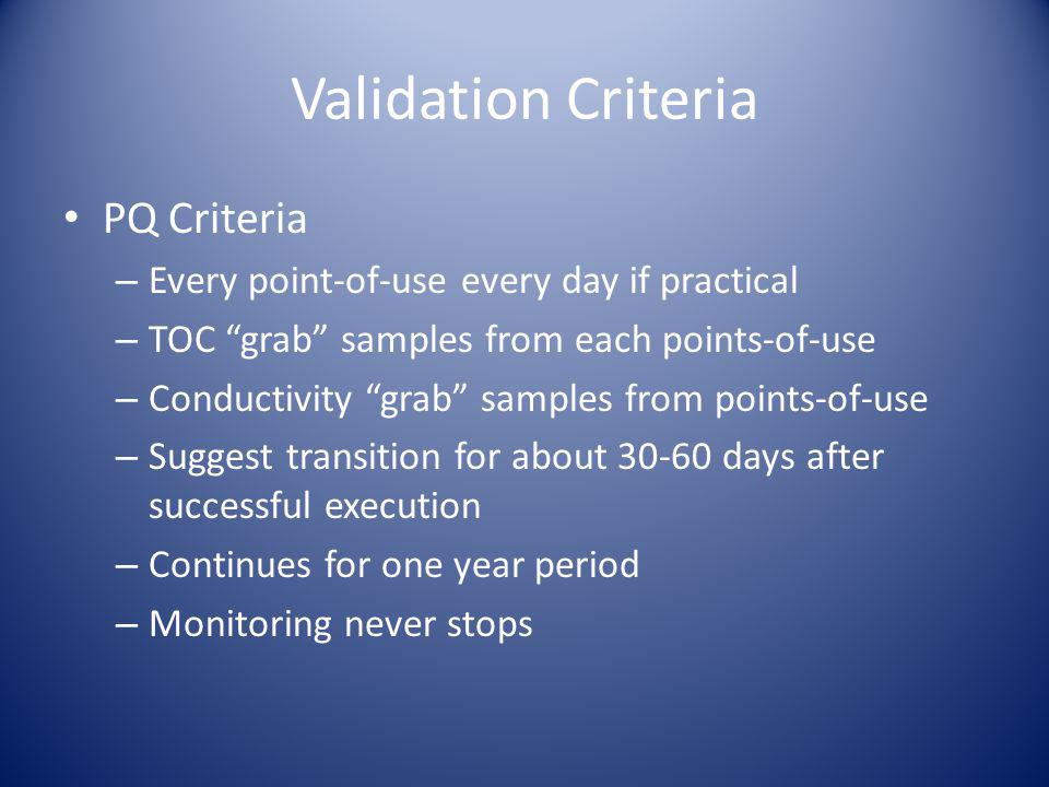 Validation Criteria PQ Criteria