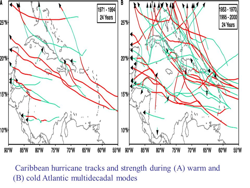 Caribbean hurricane tracks and strength during (A) warm and