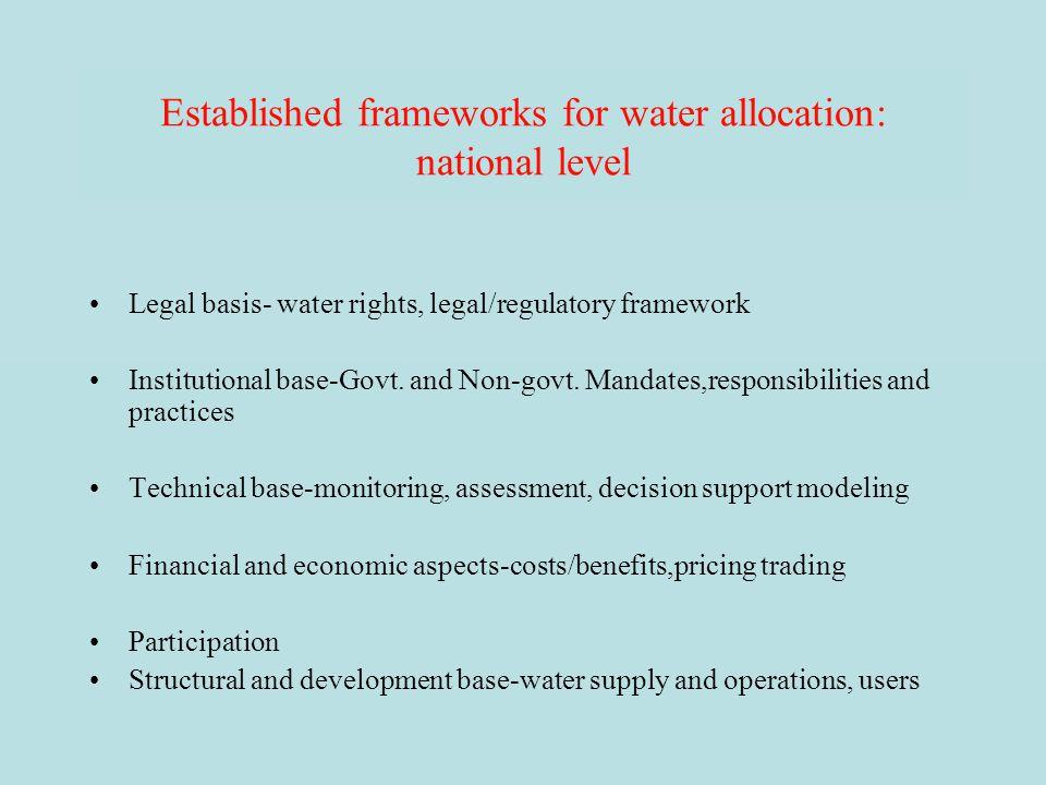 Established frameworks for water allocation: national level