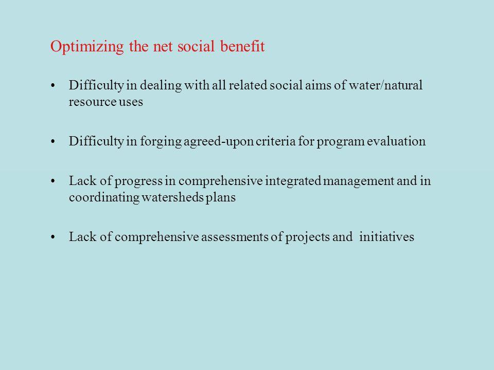 Optimizing the net social benefit