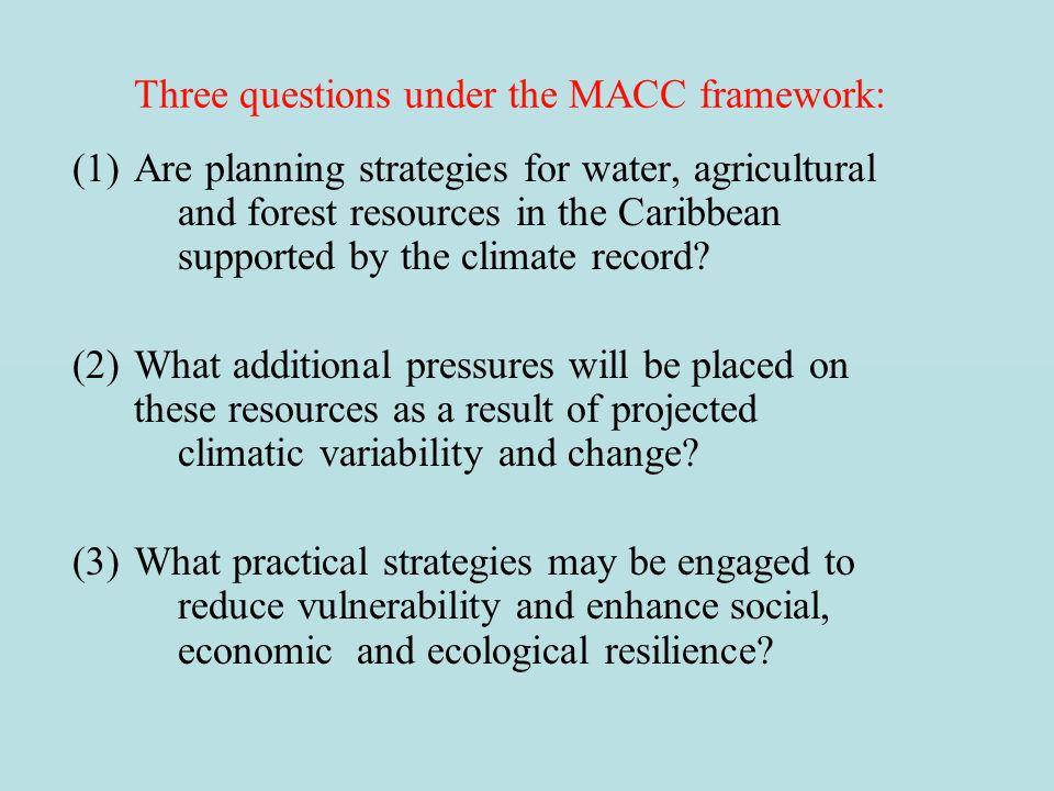 Three questions under the MACC framework: