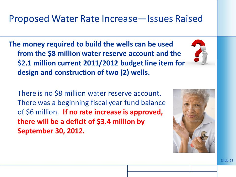 Proposed Water Rate Increase—Issues Raised