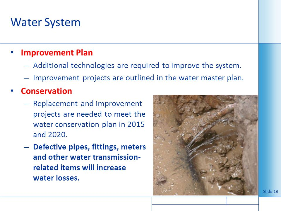 Water System Improvement Plan Conservation