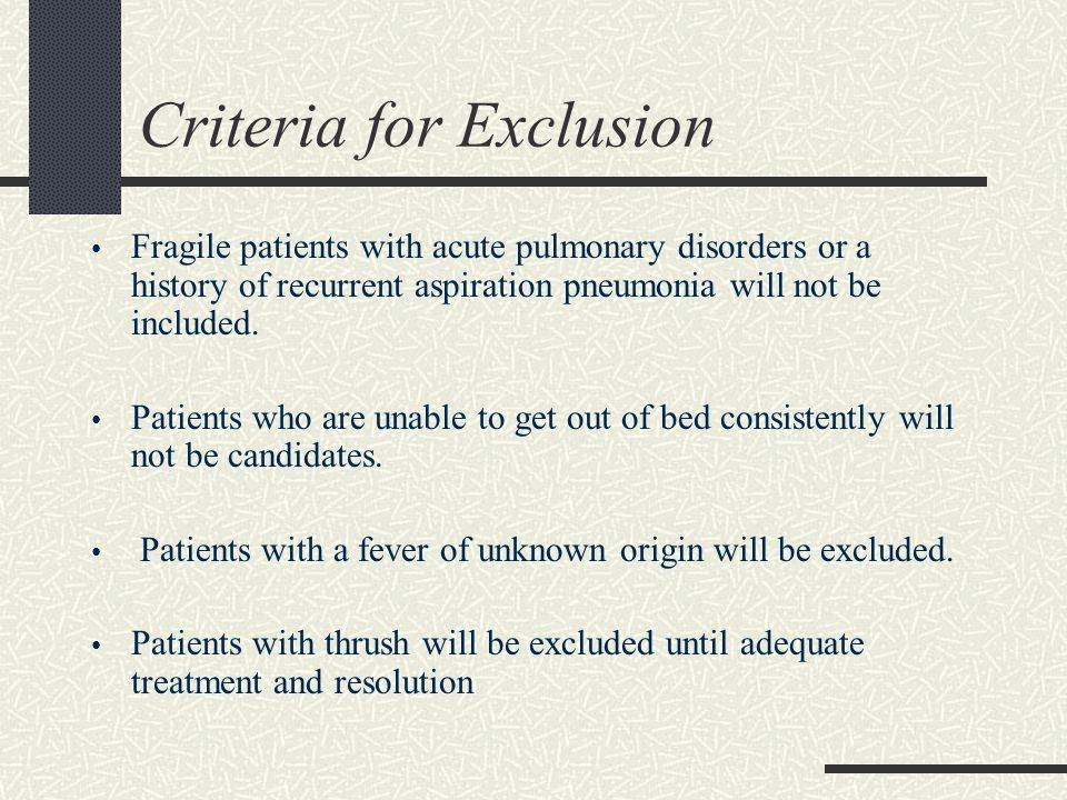 Criteria for Exclusion