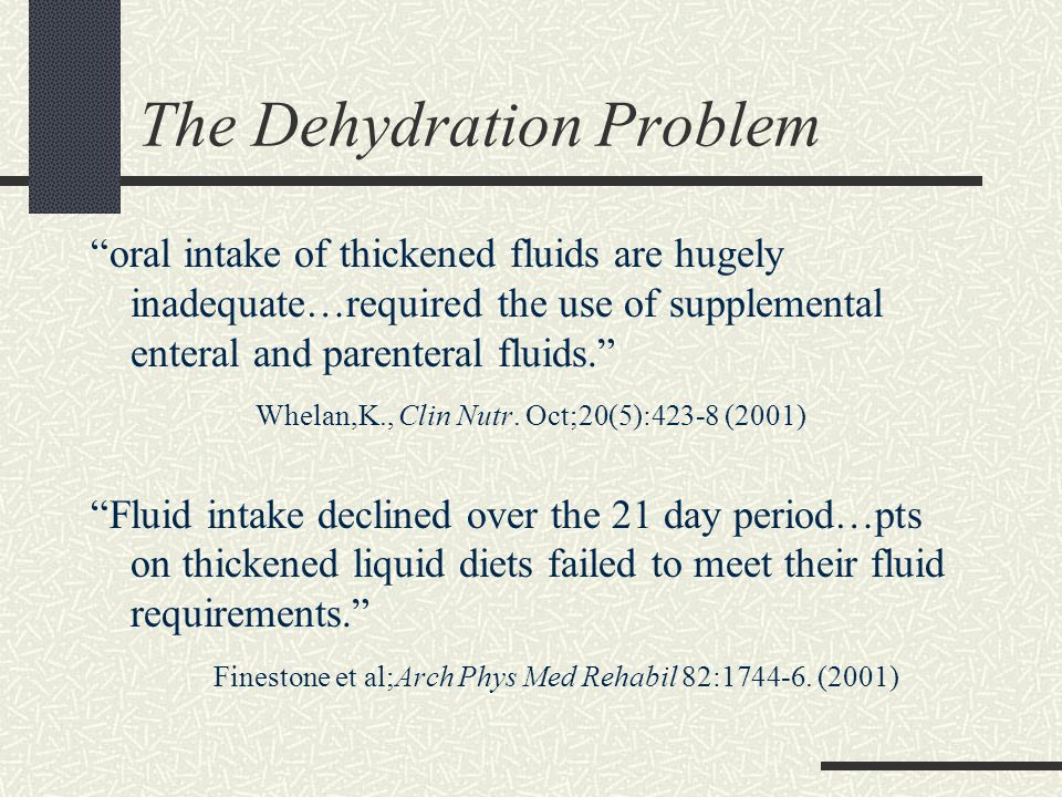 The Dehydration Problem