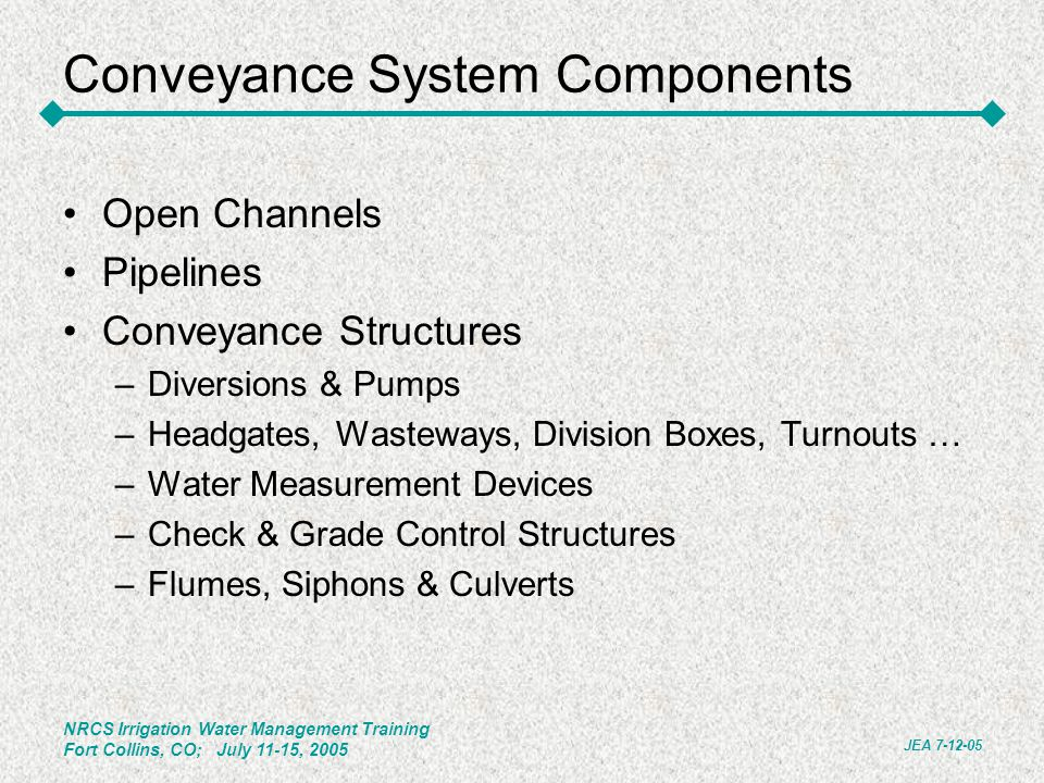Conveyance System Components