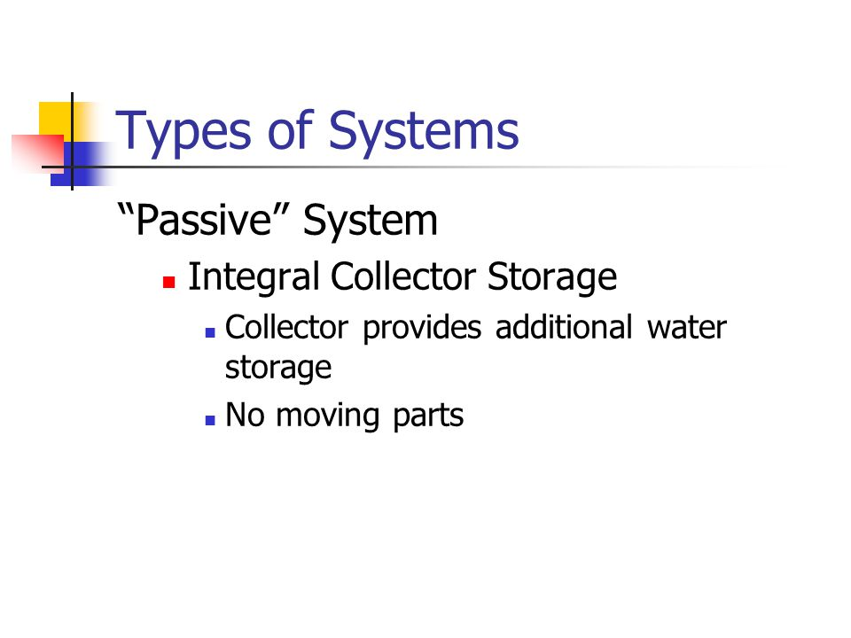 Types of Systems Passive System Integral Collector Storage