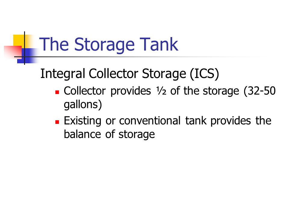 The Storage Tank Integral Collector Storage (ICS)
