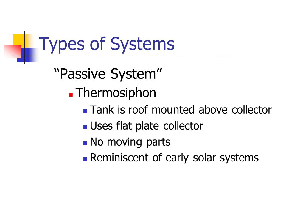 Types of Systems Passive System Thermosiphon