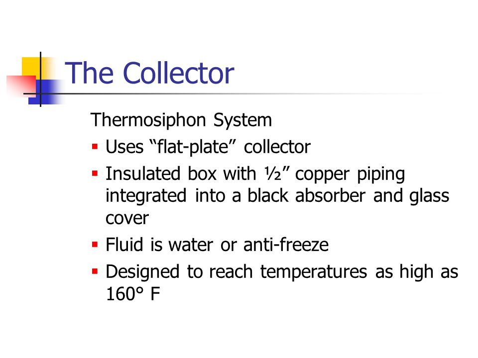 The Collector Thermosiphon System Uses flat-plate collector