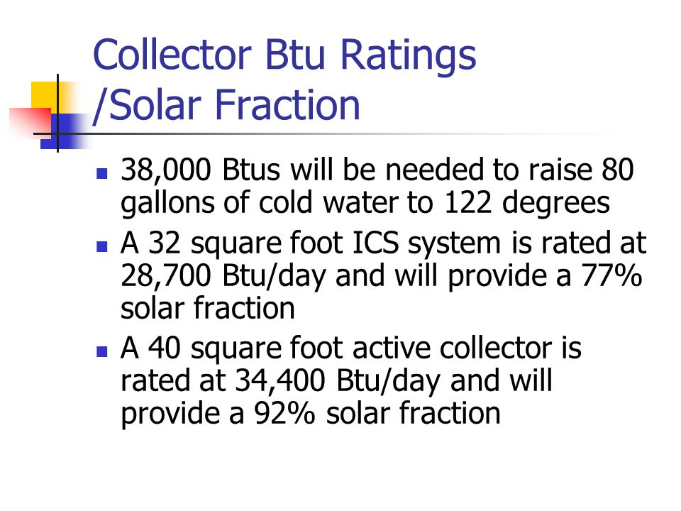 Collector Btu Ratings /Solar Fraction