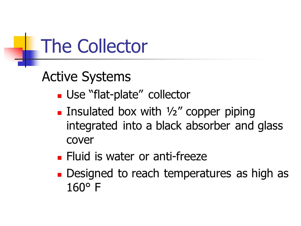 The Collector Active Systems Use flat-plate collector