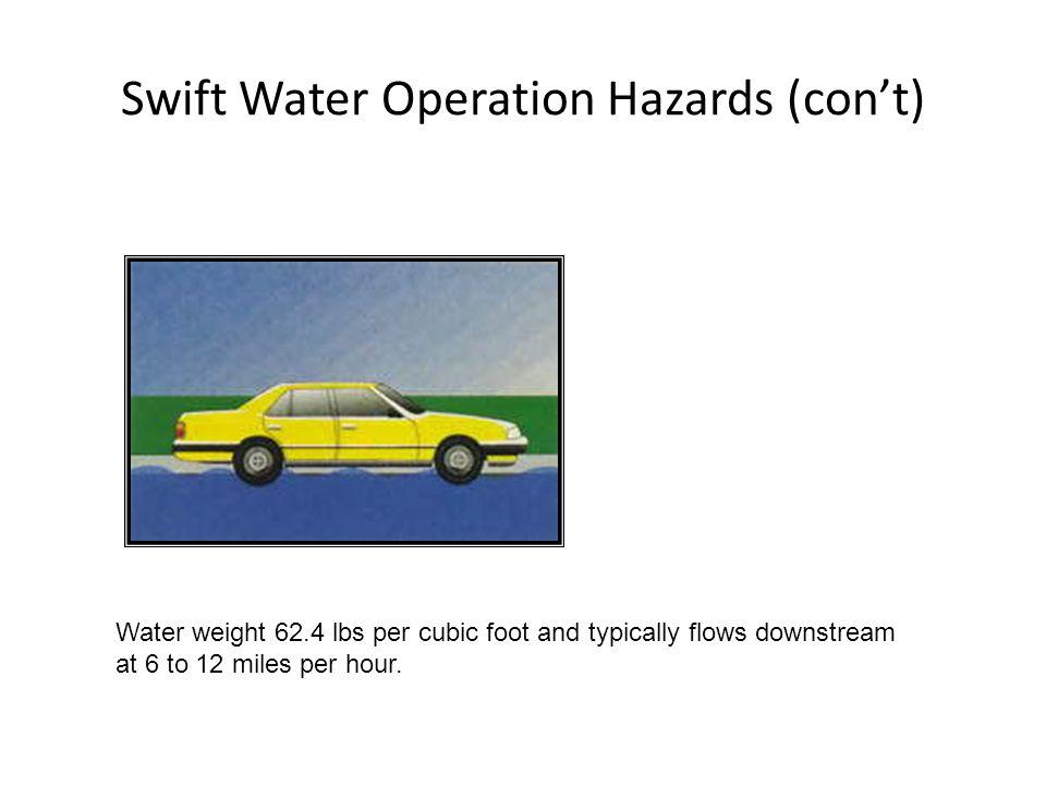 Swift Water Operation Hazards (con't)