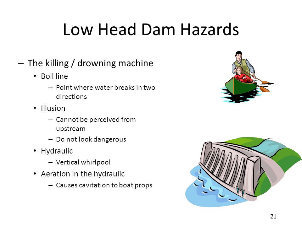 Low Head Dam Hazards The killing / drowning machine Boil line Illusion
