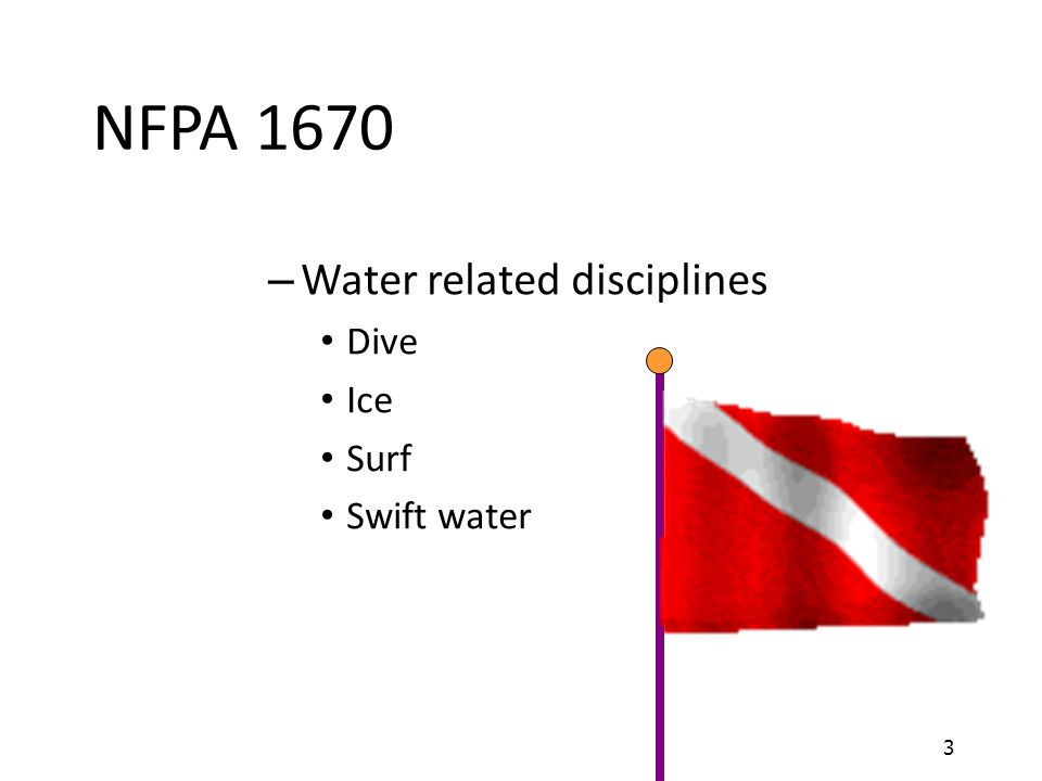 NFPA 1670 Water related disciplines Dive Ice Surf Swift water 3