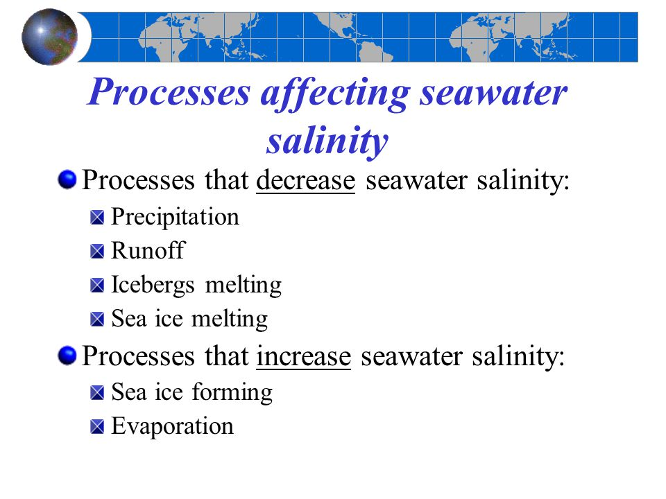 Processes affecting seawater salinity